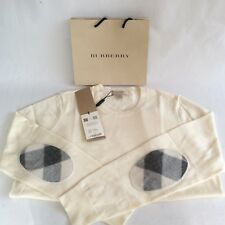 NWT Burberry Brit 100%Wool V-neck Sweater White Size L checked elbow patches$350
