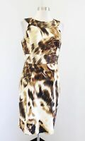 Muse for Boston Proper Abstract Cheetah Animal Print Sheath Dress Size 10 Brown