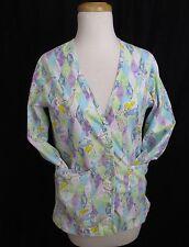 Disney Tinkerbell Women's Long Sleeve Scrub Top Jacket Coat Size XS Cotton Shirt