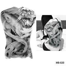 REGNO Unito Carpa Pesce e fiume DEA Grigio Completo Posteriore Adesivo Tatuaggio Temporaneo Body Art