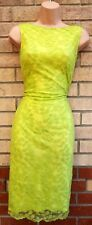 AMY CHILDS LIME NEON GREEN LEAVES LACE SLEEVELESS BODYCON COCKTAIL DRESS 6 XS