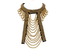 Tribal Ethnic Golden Round Beads Cut Out Like Design Bib Necklace Fashion Gift