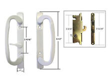 "Patio Door Handle Set with Mortise Lock, White, Non-Keyed, 3-15/16"" Screw Holes"