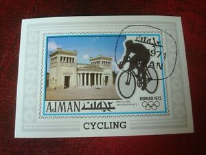 AJMAN - 1971 OLYMPIC CYCLING - MINISHEET - UNMOUNTED USED MINIATURE SHEET