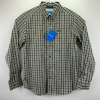 Columbia Mens Vapor Ridge III Plaid Long Sleeve Button Down Shirt Brown XL