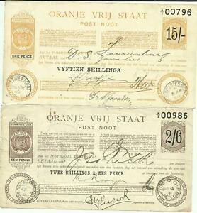 ORANGE FREE STATE POST NOOT 2/6 ISSUED 1898 & 15/- ISSUED 1899
