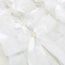 10 White Organza Ribbon Bows for Wedding Decor  Embellishment
