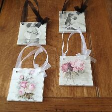 Set of 4 Shabby Chic Vintage Picture Plaques Lovely Hand made Gift Wrapped !
