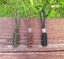 3x Schlüsselanhänger mit Totenkopf Skull aus Paracord für Taschenmesser Lanyard