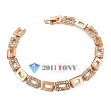 18K Rose Gold Plated Swarovski Crystal Bangle rectangle-Link Tennis Bracelet