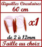 1 PAIRE D' AIGUILLE CIRCULAIRE A TRICOTER 60 CM EN BAMBOU VÉRITABLE TRICOT LAINE