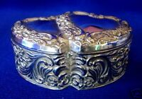 Collectible Vintage Silver Plate Heart Blue Velvet Lined Jewelry/Trinket Box
