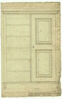 Construction drawing of a laundry wardrobe, ink drawing from ca. 1850