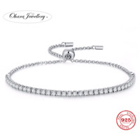 925 Solid Sterling Silver Cubic Zirconia CZ Thin Adjustable Bracelet Jewellery