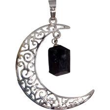 Celtic Crescent Moon Pendant with Black Tourmaline Stone!