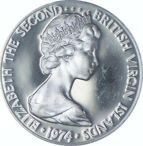 Better Date - 1974 British Virgin Islands 1 Dollar - SILVER *545