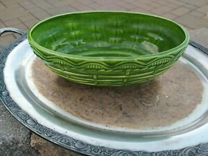 "HAEGAR GREEN BASKET WEAVE PLANTER VINTAGE GREAT CONDITION 11.5"" X 7"""