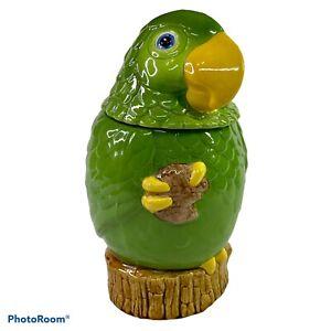 "Metlox Green Parrot Cookie Jar Vintage 11"" Tall Poppytrail California Bird READ"