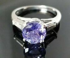 2.02TCW Round Solitaire Tanzanite Baguette Diamond Platinum ring SZ 4.75