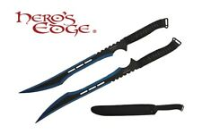 2 PC Set Full Tang 2 Tone Blue Blade Straight Ninja Sword with Sheath NEW
