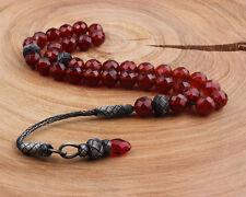 Islamic Prayer Beads, Silver Special Kazaz Tassel, Agate Stone, 8 mm