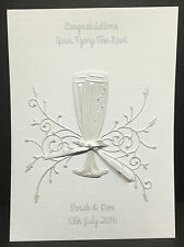 HANDMADE PERSONALISED ALL WHITE CHAMPAGNE FLUTES WEDDING DAY CARD