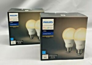 *2 Boxes* Philips Hue White A19 2-Pack 60W Equivalent Dimmable LED Smart Bulbs