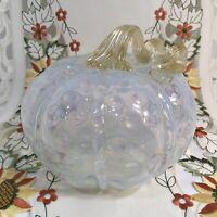 Glass Pumpkin Hand Blown Art White Ribbed Hob Nob Amber Stem Fall Decor 7x6.25