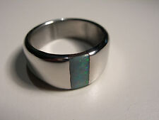 Boulder Opal inlay in Stainless Steel Ring (Lot 2219)