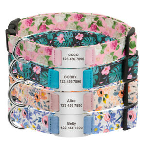 Floral Personalized Dog Collar Adjustable Slide On ID Name Engraved Nylon Collar