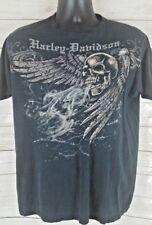 Harley Davidson Coziahr Decatur Illinois Black Blue Men's Large L T-Shirt Skulls