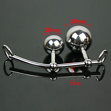 Female Stainless Steel Metal Anal Butt Plug 2 Balls Sex Toys Chastity Device