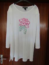 Citiknits Shirt 3/4 Arm mit Applikationen in Größe XL  Weiß mit Schulterpolster
