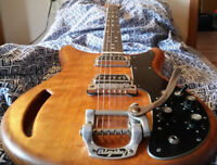 Kustom K 200 Vintage Wood Bodied Electric Guitar with Bigsby Vibrato Tailpiece