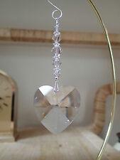 =^..^= Suncatcher made with 40mm Swarovski Heart Crystal Siam Clear Crystal LOGO