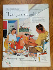 1956 Beer Belongs Ad Coupe Relaxing on Patio Let's Just Sit Awhile Raining Out