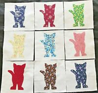 "9 Calico Cat Appliques Quilt Top or Wall Hanging  6"" Blocks Cotton Fabric"