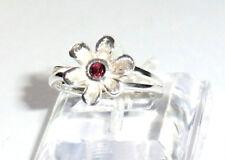 Granat Blüte Blume Ring Rot 925 Sterling Silber Gr 54/17,2 mm Einzelstück Neu