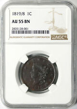 1819/8 1c Coronet Head Large Cent NGC AU55BN