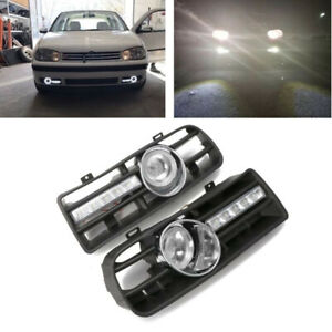 AC For VW Golf MK4 98-04 2Pcs H3 Fog Lights Grilles With LED DRL Lamp Bright