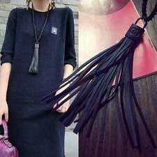 1x Black Lock Tassel Leather Chunky Chain Pendant Bib Blouse Sweater Necklace