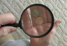 Lot of 2-Large Handheld Magnifying Glass Power REAL Glass Magnifier Heavy Duty *