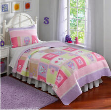 Laura Hart Spring Kids 2Pc Twin Quilt Set Owls Ladybugs Floral Pastel Colors New