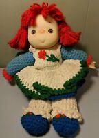 Ice Cream Face Baby Doll Hand Crochet Dress Blue Yarn Red Hair Plush Body Vtg 80