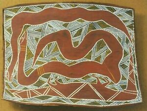 AUSTRALIAN ABORIGINE1960s VINTAGE SNAKE PAINTING ON BARK IN EXCELLENT CONDITION