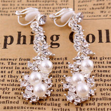 18K WHITE GOLD PLATED PEARL & CUBIC ZIRCONIA DANGLE STATEMENT CLIP-ON EARRINGS