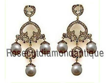 925% Pearl Emerald Vintage Style Earrings 2.52ct Antique Rose Cut Diamond Silver