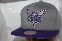 Charlotte Hornets Mitchell & Ness NBA Fleece Clear Script Snapback,Hat,Cap   NEW