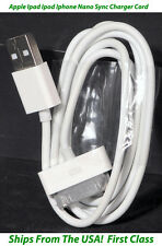 Apple Sync Charger Cord for Ipad Ipod Nano Iphone 4 - 3ft 30 Pin Gen 1 & 2 White