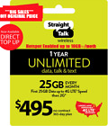 Straight Talk Unlimited Plan 365 Days $495 Card 25 GB 4G LTE At High Speed